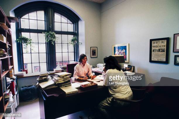 In her office American academic Professor Elizabeth Warren meets with an unidentified student at University of Pennsylvania Law School Philadelphia...
