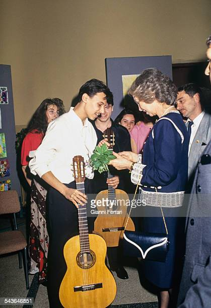 In her official trip to Bulgaria the Spanish Queen Sofia visit the Spanish Lyceum Miguel de Cervantes 23rd May 1993 Sofia Bulgaria