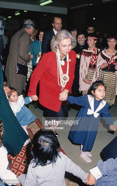 In her official trip to New Zealand the Spanish Queen Sofia visits a Maori Center 20th June 1988 Wellington New Zealand