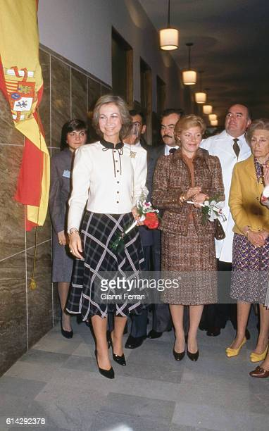 In her official trip to Uruguay the Spanish Queen Sofia visiting the Spanish Sanatorium Mutual Aid Association accompanied by the wife of the...