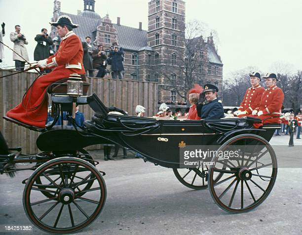 In her official visit to Denmark, the Spanish Queen Sofia and the Prince Consort Heny of Montpezat go to the Town Hall,18th March 1980, Copenhagen,...