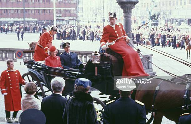 In her official visit to Denmark the Spanish Queen Sofia and the Prince Consort Heny of Montpezat go to the Town Hall18th March 1980 Copenhagen...