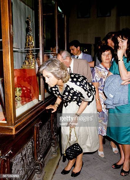 In her official visit to the People's Republic of Hungary the Spanish Queen Sofia visit a museum in Esztergom Estzergom Hungary