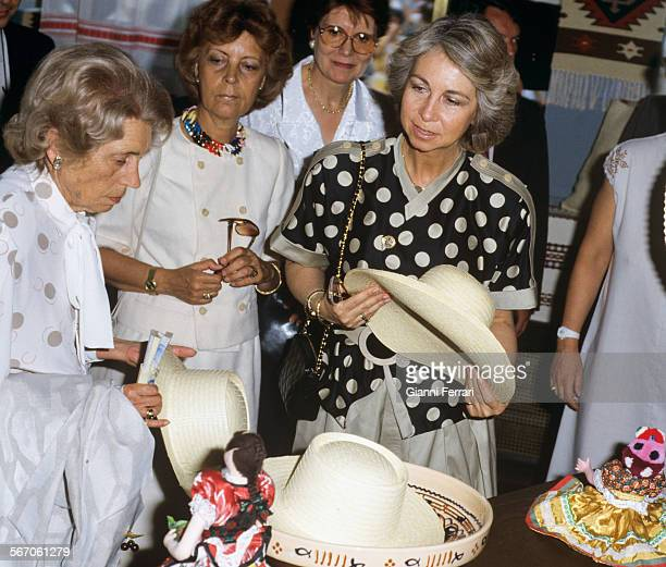 In her official visit to the People's Republic of Hungary the Spanish Queen Sofia makes shopping in Esztergom Estztergom Hungary