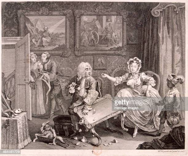 'In high keeping by a Jew' plate II of The Harlot's Progress 1732 Mary Hackabout now the mistress of a wealthy London Jew kicks over a table to...