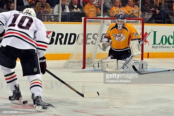 In his first appearance at home goalie Marek Mazanec of the Nashville Predators wins his first career NHL game against the Chicago Blackhawks at...
