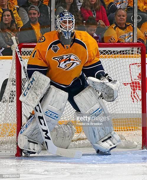 In his first career NHL game goalie Juuse Saros of the Nashville Predators plays against the Buffalo Sabres at Bridgestone Arena on November 28 2015...