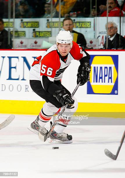 In his first ever NHL game Claude Girous of the Philadelphia Flyers carries the puck up the ice in a game against the Ottawa Senators February 18...