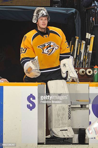 In his first NHL appearance at home goalie Marek Mazanec of the Nashville Predators is a star of the game as he wins his first career NHL game...