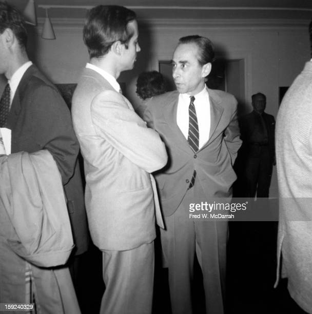 In his gallery American art dealer Leo Castelli speaks to an unidentified man New York New York November 25 1958