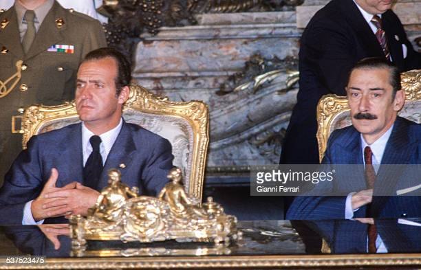 In his official trip to Argentina, the Spanish King Juan Carlos of Borbon in a meeting with Argentine President Jorge Rafael Videla, 27th November...