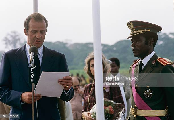 In his official trip to Equatorial Guinea the Spanish King Juan Carlos of Borbon is greeted at the airport of Malabo by the Guinean President Nguema...