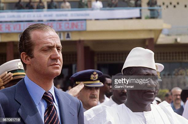In his official trip to Guinea Conakry the Spanish King Juan Carlos of Borbon is greeted at the airport of Conakry by Guinean President Sekou Toure...