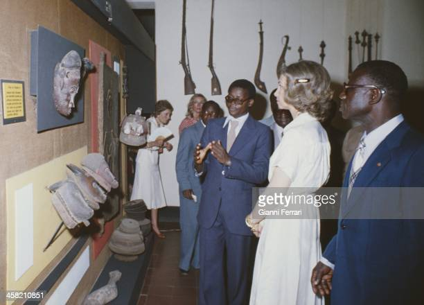 In his official trip to Ivory Coast the Spanish Queen Sofia visits a museum Abidjan Ivory Coast