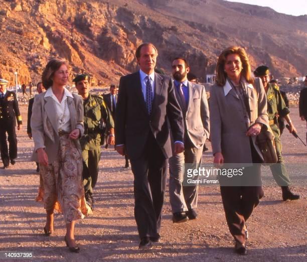 In his official trip to Jordan the Spanish Kings Juan Carlos and Sofia visited ancient ruins along with Jordanian Queen Noor Jordan