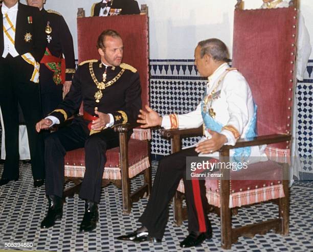 In his official trip to Morocco the Spanish King Juan Carlos of Borbon during a meeting with Moroccan King Hassan II Fez, Morocco.