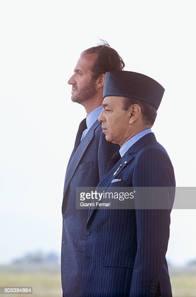 In his official trip to Morocco the Spanish King Juan Carlos of Borbon is received at Fez airport by Moroccan King Hassan II Fez, Morocco.