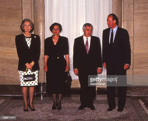 In his official visit to Bulgaria the Spanish King Juan Carlos and Sofia at a reception at the Sheraton Hotel Balkan in honor of the Bulgarian...