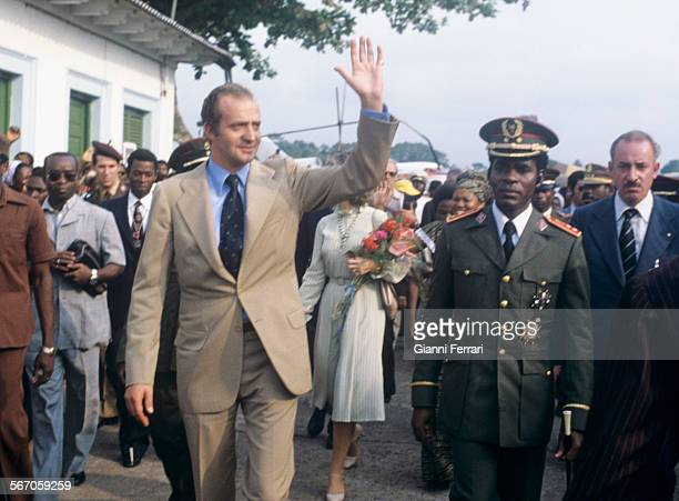 In his official visit to Equatorial Guinea the Spanish King Juan Carlos of Borbon is greeted at the airport of Bata by the Guinean President Nguema...