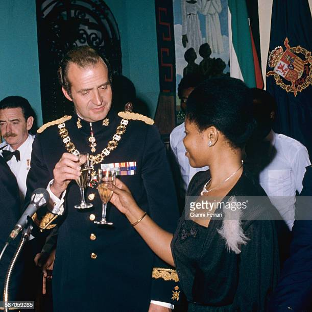 In his official visit to Equatorial Guinea the Spanish King Juan Carlos of Borbon makes a toast at a gala dinner at the People's Palace Malabo...