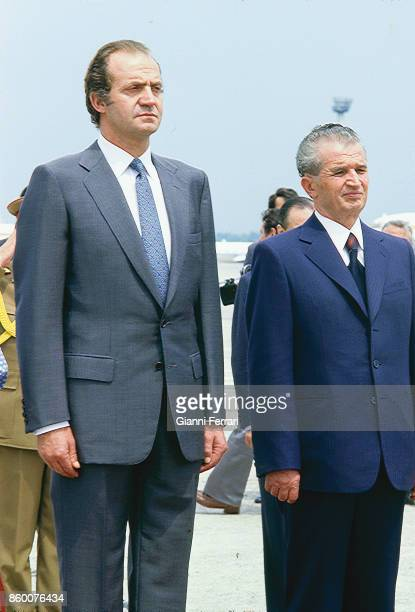In his official visit to Romania the Spanish King Juan Carlos is greeted at the airport by President Nicolae Ceaucescu Bucharest Romania
