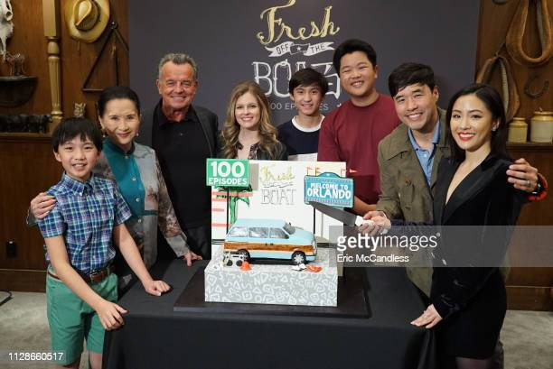 BOAT In honor of Fresh Off the Boats 100th episode Walt Disney Television via Getty Images Entertainment president Karey Burke and TCFTV president...