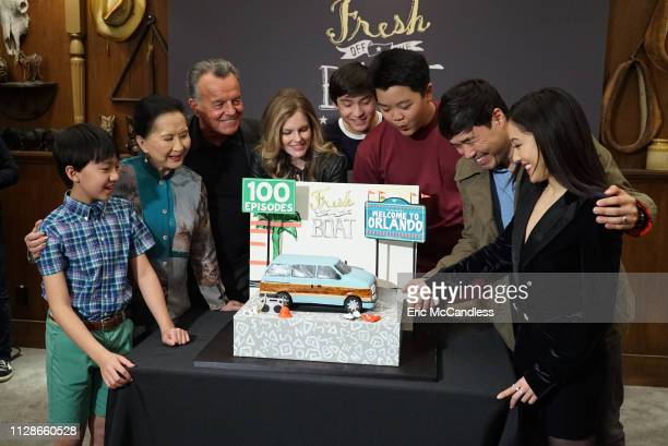 BOAT In honor of Fresh Off the Boats 100th episode ABC Entertainment president Karey Burke and TCFTV president Jonnie Davis celebrated the cast crew...
