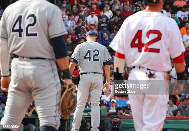 In honor of Jackie Robinson Day players on both the Boston Red Sox and Tampa Bay Rays wore his number 42 during the game at Fenway Park in Boston on...