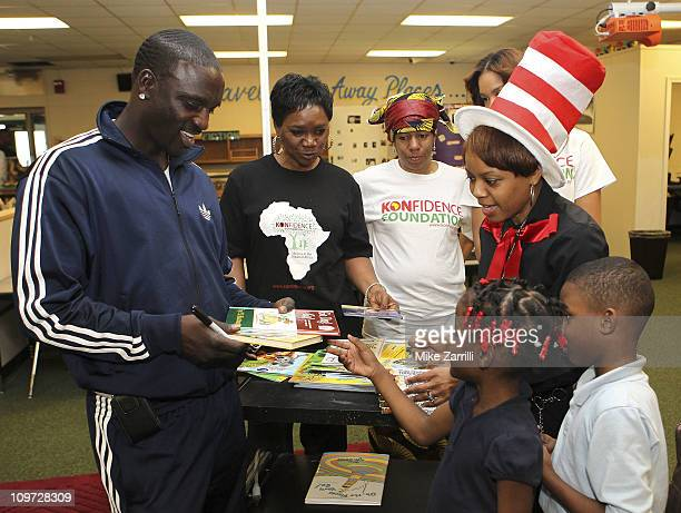 In honor of NEA's Read Across America Day Akon multi platform selling artist and founder of the Konfidence Foundation and his mother Kine Gueye Thiam...