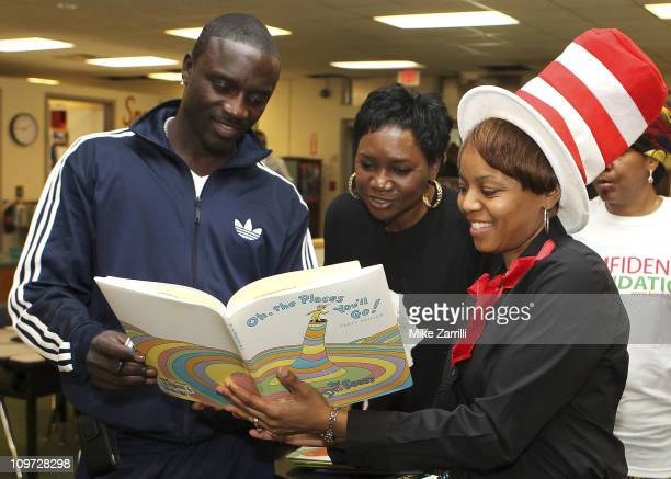 In honor of NEA's Read Across America Day Akon multi platinum selling artist and founder of the Konfidence Foundation his mother Kine Gueye Thiam...