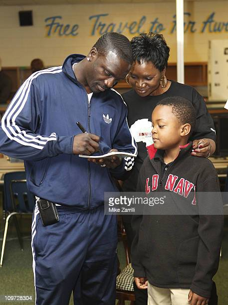 In honor of NEA's Read Across America Day Akon multi platinum selling artist and founder of the Konfidence Foundation and his mother Kine Gueye Thiam...