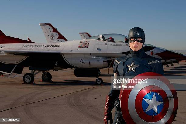 In honor of Vererans Day Madame Tussauds unveils the allAmerican hero Captain America at Nellis Air Force Base on November 11 2016 in Las Vegas Nevada