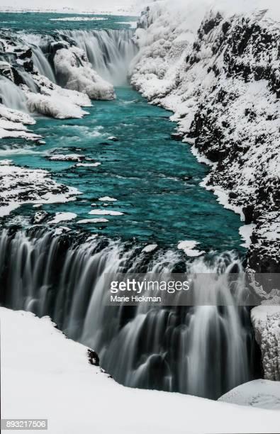 GULLFOSS WATERFALLS in Iceland in winter, a very poplular tourist destination.
