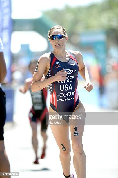 In In this handout photo provided by ITU , Katie Hursey of the USA comes second in the women's race in the triathlon season opener at the 2014...