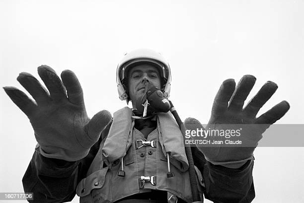 In Istres, Guy Mitaux, Dassault And Mirage F1m53 And Test Pilot. Istres- 6 Janvier 1975- Portrait en contre-plongée de Guy MITAUX, pilote d'essais de...