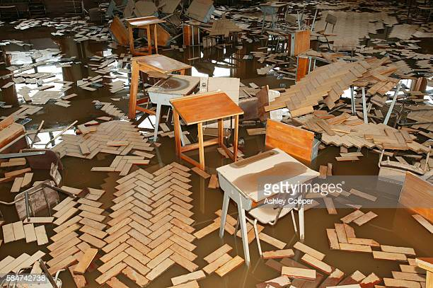 In January 2005 a severe storm hit Cumbria with over 100 mph winds that created havoc on the roads and toppled over 1million trees. It flooded thousands of properties in Carlisle pictured here is a school. As global warming takes affect we can expect more