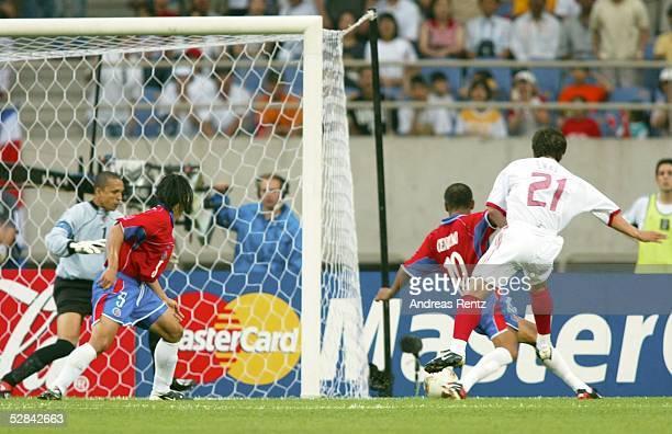 WM 2002 in JAPAN und KOREA Incheon GRUPPE C/COSTA RICA TUERKEI 11 TOR zum 01 TORWART Erick LONNIS Gilberto MARTINEZ Walter CENTENO/CRC TORSCHUETZE...