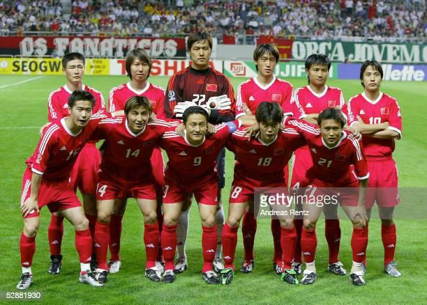 FUSSBALL WM 2002 in JAPAN und KOREA Seogwipo 080602/Match 26 GRUPPE C/BRASILIEN CHINA 40 hintere Reihe vlks Haidong HAO Tie LI TORWART Jin JIANG Wei...
