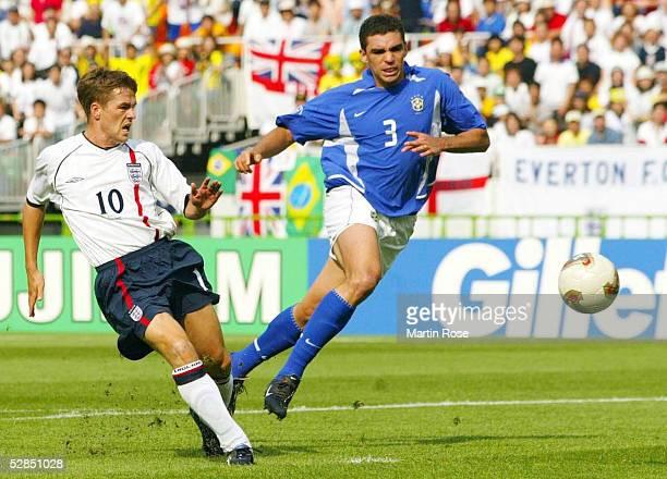 WM 2002 in JAPAN und KOREA Shizuoka Match 57/VIERTELFINALE/ENGLAND BRASILIEN 12 TORSZENE zum 10 durch Michael OWEN/ENG LUCIO/BRA