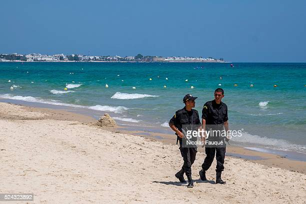 two weeks after the terrorist attack of Sousse which made 39 tourists deaths the tourist beaches of Hammamet are deserted the police on foot on horse...