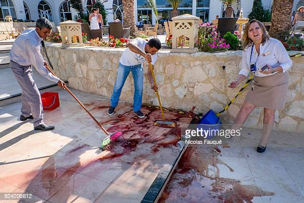 while the tourists under the shock continue to circulate around the swimming pool where the employees of the hotel clean the numerous tracks of blood...