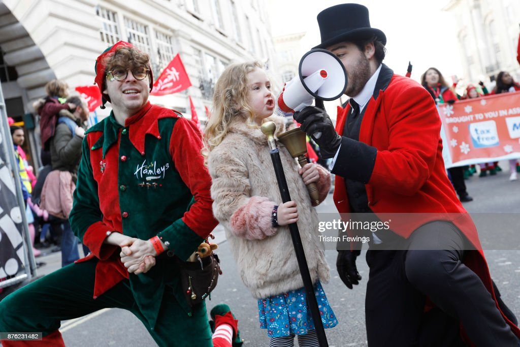 In keeping with HamleysÕ tradition, where a child opens the famous store every morning with the ring of a bell, Dulcie Dunnett, aged 6 from South London, had the honour of starting the annual Hamleys Christmas Toy Parade where she was joined by over 300 childrenÕs characters, entertainers, marching bands, floats and flying balloons plus an estimated 800,000 festive revellers. This is now the largest single gathering of toy characters anywhere in the world at Regent Street on November 19, 2017 in London, England.