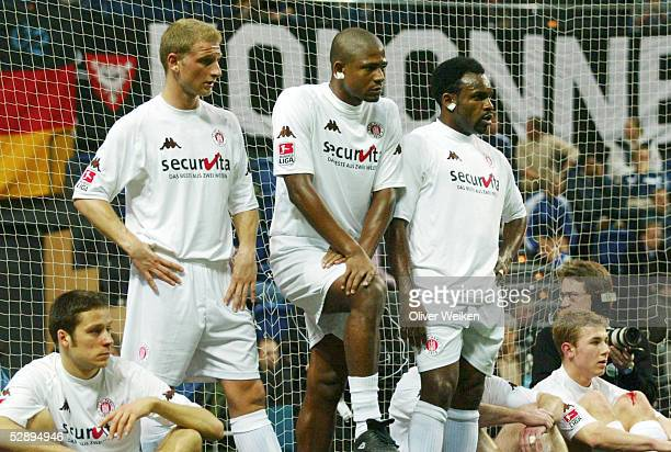 In KIEL 2003, Kiel; FC ST. PAULI - ARMINIA BIELEFELD; ENTTAEUSCHUNG/FC ST. PAULI Philip ALBRECHT, Daniel SAGER, MARCAO, Adulphus OFODILE, Hauke...