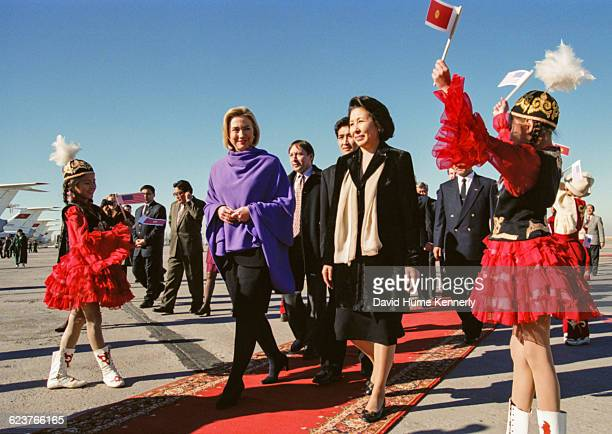 In Kyrgyzstan during a tour of Central Asia First Lady Hillary Clinton is accompanied by Mairamkulat Akayev wife of President Askar Akayev at the...