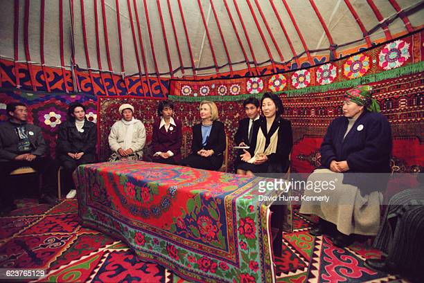 In Kyrgyzstan during a tour of Central Asia First Lady Hillary Clinton meets with women who have begun businesses with microcredit from...