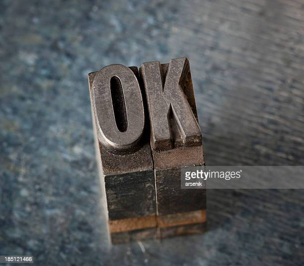 ok in letterpress type - single word stock pictures, royalty-free photos & images