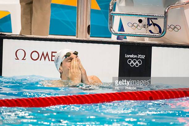 Swimming JO de Londres 2012 Lundi 30 juillet Natation Yannick AGNEL décroche l'or sur le 200 mètres nage libre l'émotion du nageur à l'arrivée