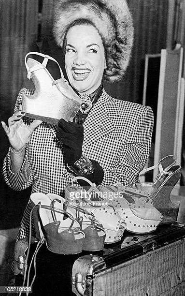 In London On April 23 The Brazilian Actress Carmen Miranda Presents A Pair Of Her Platform Shoes With A Heel Ranging From 8 To 12Cm High These Shoes...