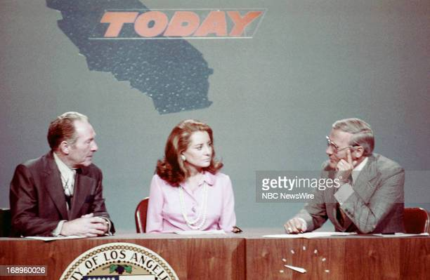 TODAY 'TODAY in Los Angeles Week 1972' Pictured Los Angeles Mayor Sam Yorty NBC News' Barbara Walters Frank McGee discuss the 1972 Presidential...