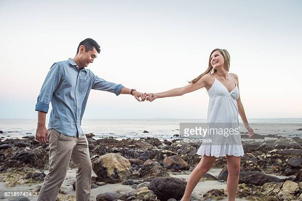 In Love Multi Racial Couple at the Beach